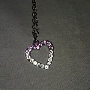 Heart pink to blue necklace